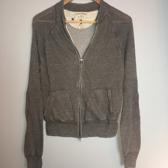 191153253768 Converse 100% Linen Knit Sweater Jacket (S)
